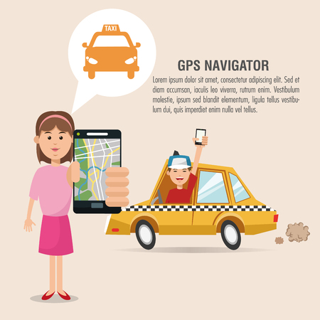 Cartoon woman man taxi and smartphone. Gps navigator location travel and route heme. Colorful design. Vector illustration Illustration