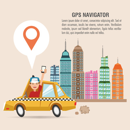Cartoon man taxi city and smartphone. Gps navigator location travel and route heme. Colorful design. Vector illustration Illustration