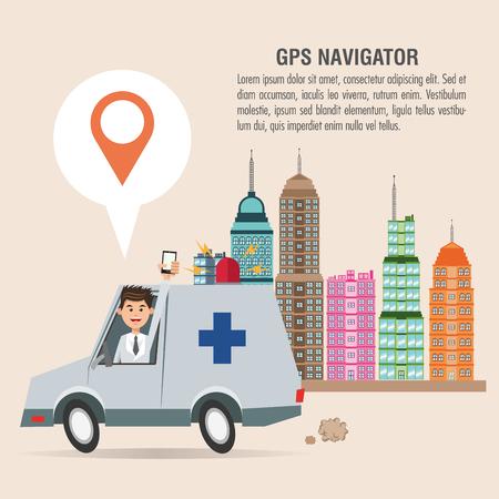 Cartoon man ambulance city and smartphone. Gps navigator location travel and route heme. Colorful design. Vector illustration