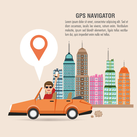 Cartoon man car city and smartphone. Gps navigator location travel and route heme. Colorful design. Vector illustration Illustration