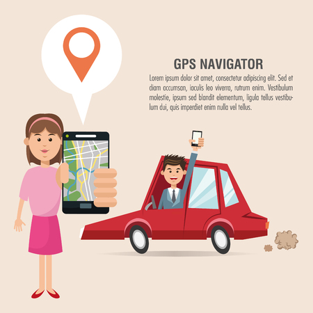 Cartoon woman man car and smartphone. Gps navigator location travel and route heme. Colorful design. Vector illustration