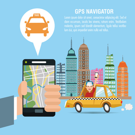 Cartoon man hand city taxi and smartphone. Gps navigator location travel and route heme. Colorful design. Vector illustration Illustration