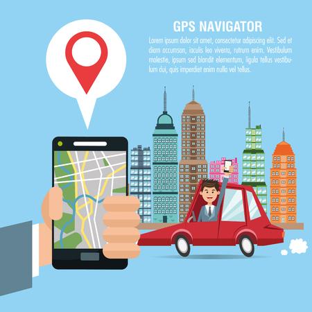 gps navigator: Cartoon man car city and smartphone. Gps navigator location travel and route heme. Colorful design. Vector illustration Illustration