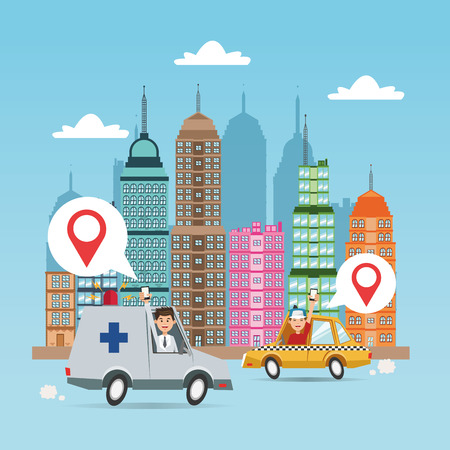 Cartoon man taxi ambulance city and smartphone. Gps navigator location travel and route heme. Colorful design. Vector illustration