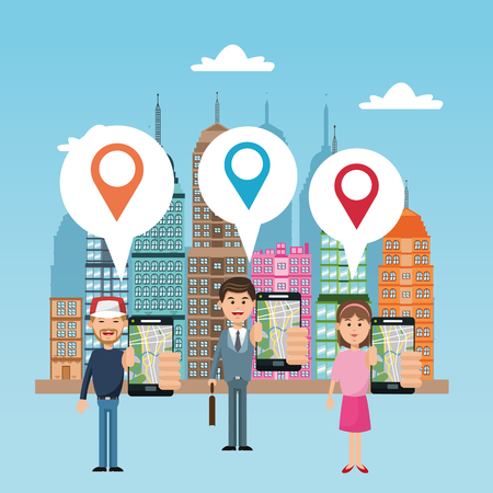 Cartoon woman man city and smartphone. Gps navigator location travel and route heme. Colorful design. Vector illustration