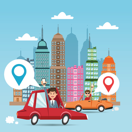 Cartoon man cars city and smartphone. Gps navigator location travel and route heme. Colorful design. Vector illustration