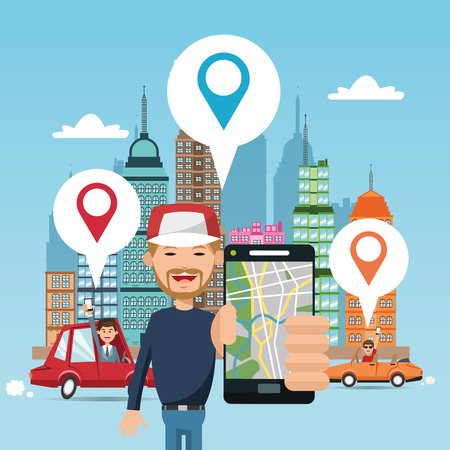 global positioning system: Cartoon man car city and smartphone. Gps navigator location travel and route heme. Colorful design. Vector illustration Illustration