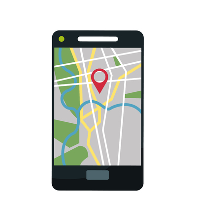 Smartphone and map icon. Gps navigator location travel and route heme. Colorful design. Vector illustration