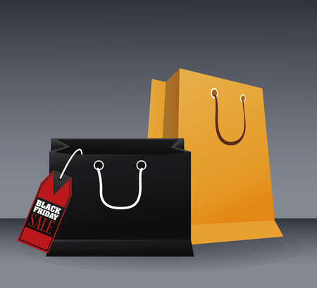 stock clipart icons: Shopping bag icon. Black Friday sale and offer theme. Grey background. Vector illustration