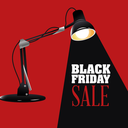 Illuminated lamp icon. Black Friday sale and offer theme. Red and black background. Vector illustration