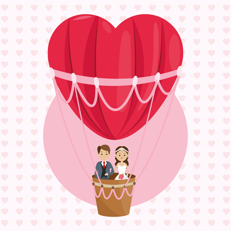 man and woman cartoon couple in a hot air balloon icon. Wedding and marriage theme. Colorful design. Vector illustration