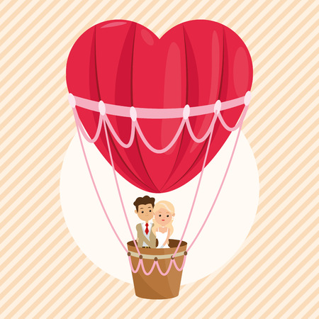 hot couple: man and woman cartoon couple in a hot air balloon icon. Wedding and marriage theme. Colorful design. Vector illustration