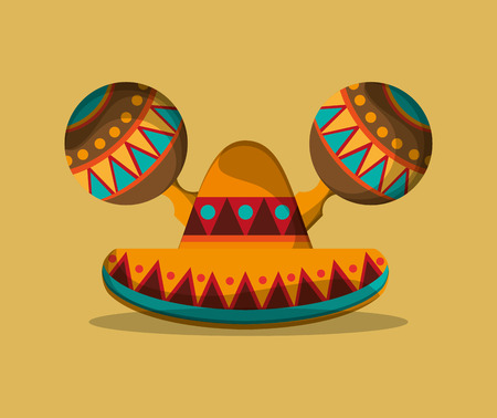 mexican ethnicity: sombrero with mexican culture related icons image vector illustration