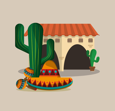 spanish colonial style villa with mexican culture related icons image vector illustration