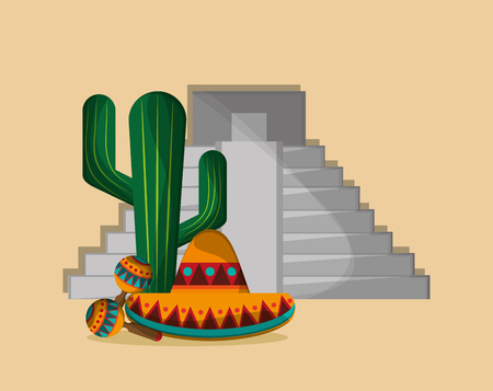 mexican ethnicity: aztec pyramid with mexican culture related icons image vector illustration