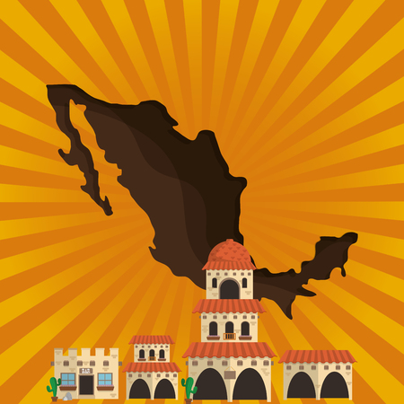 villa: spanish colonial style villa with mexican culture related icons image vector illustration