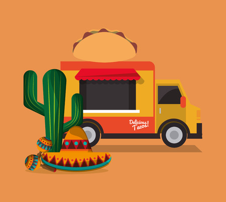 mexican ethnicity: taco food truck with mexican culture related icons image vector illustration