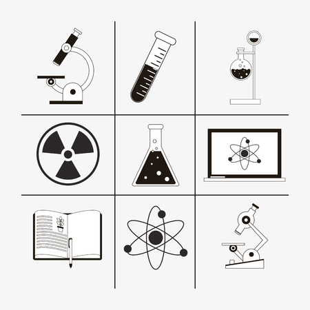 a solution tube: flat design assorted science related icons image vector illustration