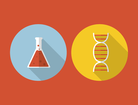 a solution tube: flat design chemistry flask or test tube science related icons image vector illustration