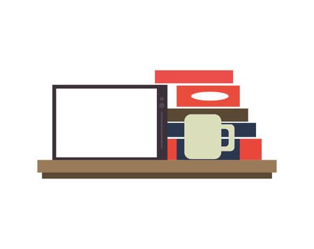 palmtop: tablet on shelf with books and coffee image vector illustration design