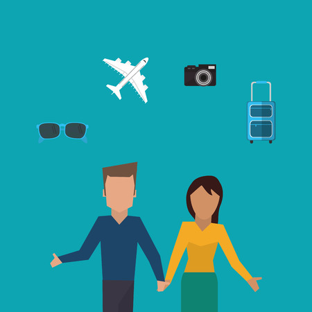 couple holding hands: flat design couple holding hands traveling image vector illustration