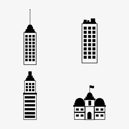 headquarter: flat design assorted building type icons image vector illustration