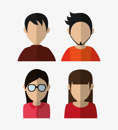 assorted people portrait icons image vector illustration