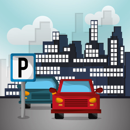 car with city background image vector illustration design