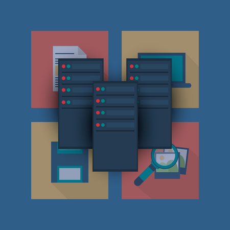 protected database: flat design data center related icons image vector illustration