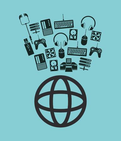 diagrama de globo de tierra mundial de comunicaciones y centro de datos iconos ilustración vectorial