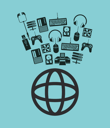earth globe diagram global communication and data center icons vector illustration Illustration