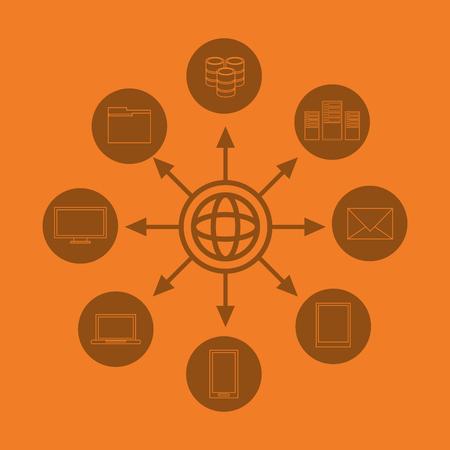 flat design earth globe global data center related icons image vector illustration Illustration