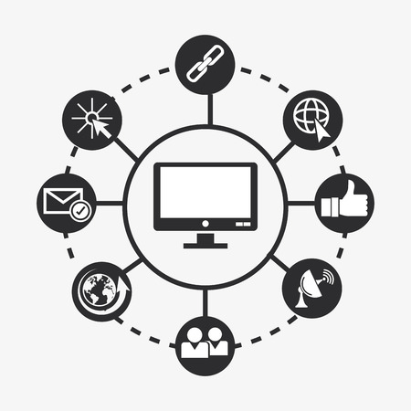 flat design computer with data center related icons image vector illustration Illustration