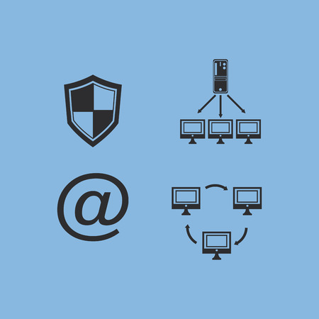 flat design data center related icons image vector illustration