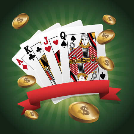 cards of poker and coins icon. Casino and las vegas theme. Colorful design. Vector illustration Illustration