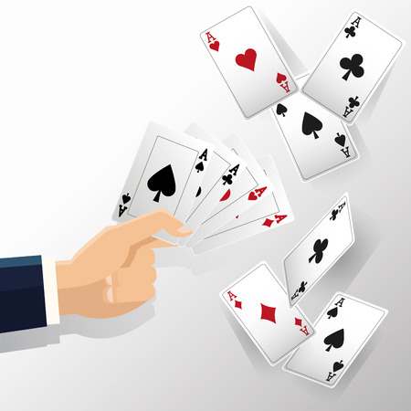 hand and cards of poker icon. Casino and las vegas theme. Colorful design. Vector illustration Illustration