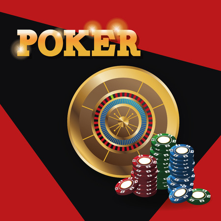 Chips and roulette icon. Poker casino and las vegas theme. Colorful design. Vector illustration