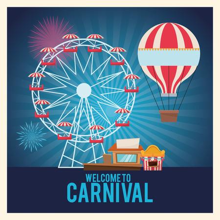 航空ショー: ホット気球の観覧車と立っています。カーニバル祭フェア サーカスとお祝いのテーマ。カラフルなデザイン。ストライプの背景。ベクトル図