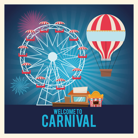 the performer: Hot air balloon ferris wheel and stands. Carnival festival fair circus and celebration theme. Colorful design. Striped background. Vector illustration