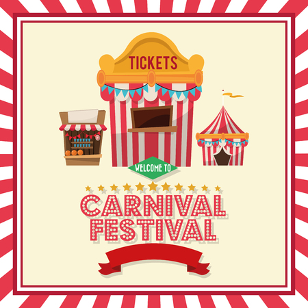 the stands: striped ticket tent and stands icon. Carnival festival fair circus and celebration theme. Colorful and frame design. Vector illustration