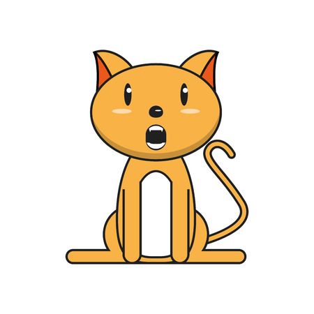Cat cartoon icon. Animal kawaii and character theme. Isolated design. Vector illustration