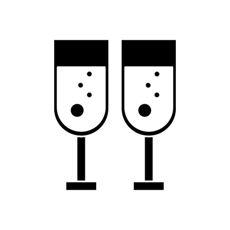 champagne celebration: Couple of cups of champagne icon. Wedding marriage love and celebration theme. Isolated design. Vector illustration