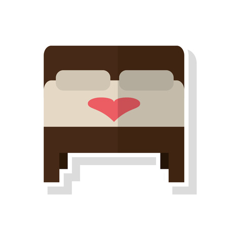 marriage bed: Bed with heart icon. Wedding marriage love and celebration theme. Isolated design. Vector illustration
