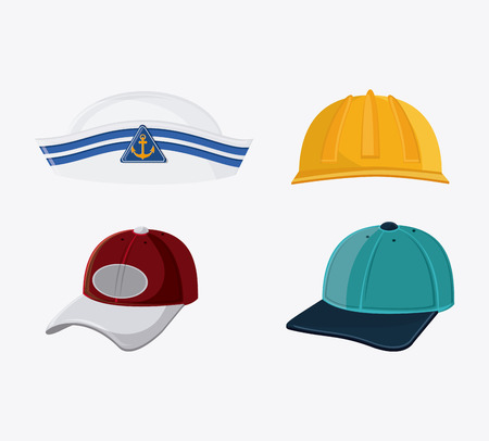 fur cap: Types of hats. Accessory cloth costume and wear theme. Colorful and isolated design. Vector illustration Illustration