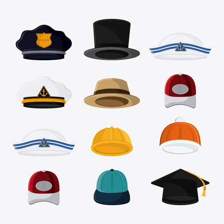 design costume: Types of hats. Accessory cloth costume and wear theme. Colorful and isolated design. Vector illustration Illustration