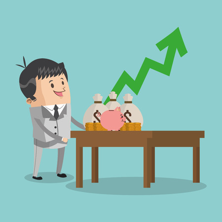 associates: Businessman cartoon with growth arrow icon. Business strategy solution and work theme. Colorful design. Vector illustration