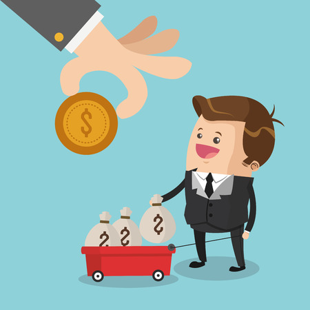 money bags: Businessman cartoon money bags and cart icon. Business strategy solution and work theme. Colorful design. Vector illustration