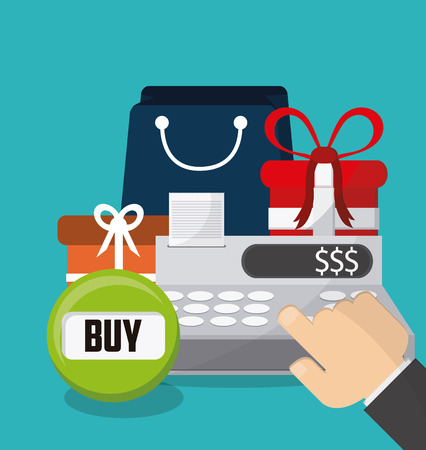 Cash register and gift icon. Shopping commerce market theme. Colorful design. Vector illustration Illustration