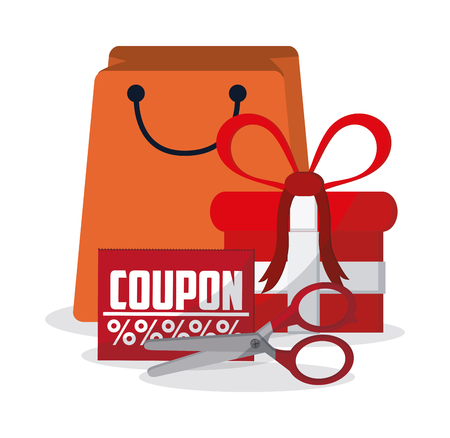 Bag gift scissor and coupon con. Shopping commerce market theme. Colorful design. Vector illustration