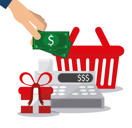 Cash register bills gift and basket icon. Shopping commerce market theme. Colorful design. Vector illustration